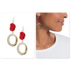 NWOT Drop earrings Red howlite stones with neutral links. Wire. 40% plastic, 40% howlite & 20% metal.  zxonsvqw Chico's Jewelry Earrings