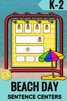 Let's go to the beach! This sunny themed sentence set is designed for early writers in kindergarten and first grade. There are sentence building cards and five unscramble sentence sets. This would be the perfect center for spring break and the last month of school! #summerwriting #sentencecenters