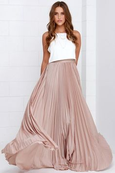 Amazing Beige Maxi Skirt. Love the pleats//