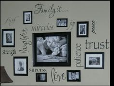 Might try this Family Wall Vinyl with my cricut Vinyl Projects, Home Projects, Picture Wall, Picture Frames, Photo Wall, Photowall Ideas, Family Wall, Family Room, Cricut Vinyl