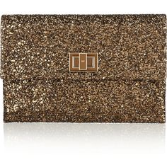 Anya Hindmarch Valorie glitter-finished clutch (4,700 MXN) ❤ liked on Polyvore featuring bags, handbags, clutches, purses, bronze, handbags clutches, glitter purse, brown purse, anya hindmarch and purse clutches
