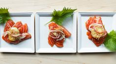 Sesame-Soy Marinated Salmon - sashimi that is flash-marinated in a potent mixture of sake, bonito, shiso and ginger juice