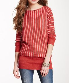 Red Stripe Pullover Sweater