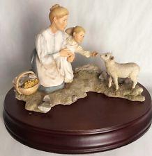 Sherratt and Simpson, Original 1987- Girl Feeding A Lamb