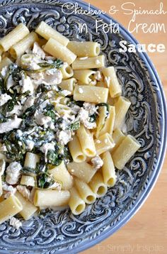 Chicken and Spinach smothered in a creamy feta sauce. It's quick and easy to make and simply divine to eat. (Bake Ravioli With Cream Cheese) Cream Sauce Recipes, Feta Pasta, Spinach Pasta, Spinach And Feta, Spinach Stuffed Chicken, Spaghetti Squash, Squash Pasta, Pasta Dishes, Pizza