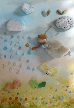 Szilajka Erzsébet #stoneart #pebbleart #beachglass #seaglass