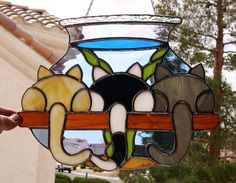 Stained Glass 3 Kittens Checking Out the by StainedGlassbyWalter