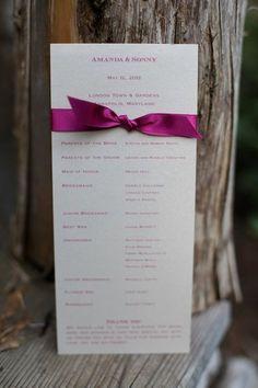 simple DIY wedding programs from Amanda & Sonny's vintage garden wedding in Maryland. Images via Megan Beth Photography.