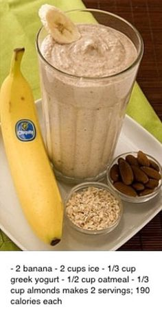 Banana Oatmeal Smoothie 2 whole Chiquita Bananas (best with brown flecks on peel) 2 cups Ice cup Yogurt - preferably Greek yogurt flavored with honey cup Cooked oatmeal cup Almonds Low Calorie Smoothie Recipes, Smoothie Recipes Oatmeal, Banana Oatmeal Smoothie, Smoothie Drinks, Healthy Smoothies, Healthy Drinks, Oreo Smoothie, Nutribullet Recipes, Daniel Fast Recipes