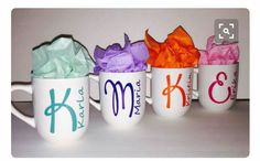 DIY your Christmas gifts this year with GLAMULET. they are compatible with Pandora bracelets. 4 Personalized Mugs Custom Initial Name and Color Great Gift Favor Bridesmaid Personalized Christmas Gifts, Personalized Mugs, Diy Becher, Diy Mugs, Vinyl Gifts, Cricut Creations, Christmas Mugs, Vinyl Projects, Custom Mugs