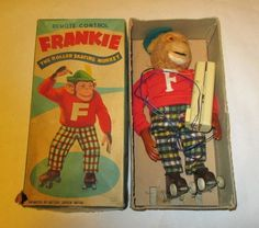 Vintage Battery Operated Remote Control Toy Frankie Roller Skating Monkey w/Box #Frankonia