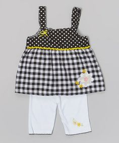 Look what I found on #zulily! Black Daisy Gingham Tank & White Leggings - Infant & Toddler #zulilyfinds