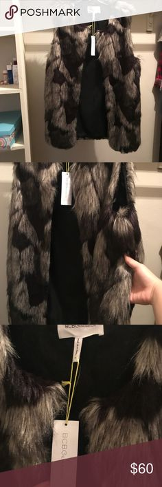 BCBG Faux fur sleeveless jacket Soft, high fashion faux fur jacket, with pockets, length goes a little further than hips BCBGeneration Jackets & Coats Vests