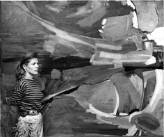 American Abstract Expressionist painter Mary Abbott (b.1921) in her studio (c.1950); photographer unknown. via Huff Post
