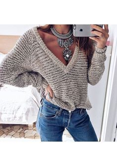 I like the sweater, but the necklace is WAY too much.