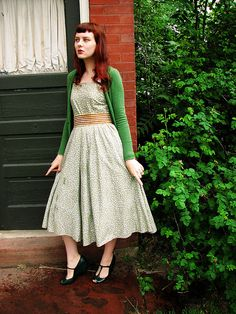 dress + cardigan in greens