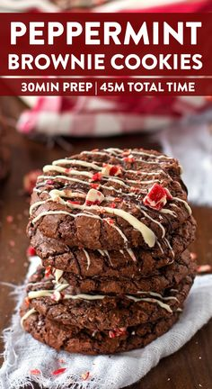 You will love baking up a storm this Christmas with this recipe for Peppermint Brownie Cookies! Deliciously chewy and fudgy cookies full of cocoa flavors are drizzled with chocolate and topped with red and white candies! The perfect holiday treat! Great for a cookie swapping party - better bring a double batch! | #christmas #christmascookies #christmascookierecipes #CookieRecipe #cookies #christmasrecipes #christmasfood #holidayrecipes #holidaybaking #baking #recipes #christmascookieexchange