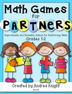Math Games for Partners: Reproducible and Reusable Games for Reinforcing Skills {Grades 1-2} ... 26 games in all... great for math workshop, math centers, or as fun homework with a family member. All games are provided in black and white and require common primary math manipulatives, such as counters, dice, and snap cubes. (59 pages, $) #mathgames #mathcenters
