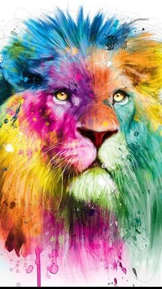 Lion artwork - Watercolor tattoos might age badly - Insider Colorful Animal Paintings, Colorful Animals, Tier Wallpaper, Animal Wallpaper, Murciano Art, Watercolor Lion Tattoo, Tableau Pop Art, Watercolor Wallpaper Iphone, Lion Painting