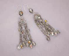 One of a Kind Vintage Assemblage Chandelier Earrings with Silver Crystals and Multi Chain - JryenDesigns.etsy.com