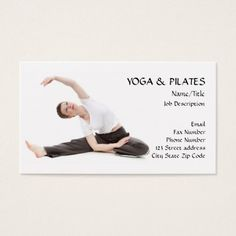 Yoga & Pilates Instructor/Health & Fitness Business Card click to buy #pilates #businesscards