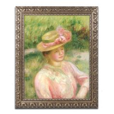 The Straw Hat by Pierre Renoir Framed Painting Print