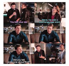"""Tony: """"You bet your ass."""" Maria: """"Steve, he said a bad language word."""" Steve: """"Did you tell everyone about that?"""""""
