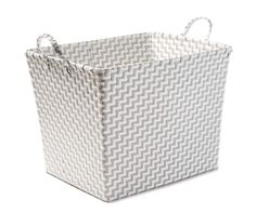 """Gray & White Zig Zag Strap Extra Large Floor Bin at Big Lots. $10.00 Model number: PUW1829 • 20""""L x 15""""W x 15""""H"""