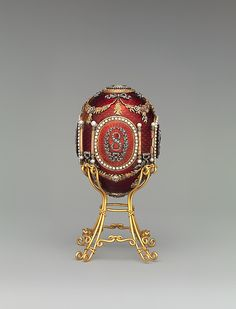 Imperial Caucasus Egg by Carl Fabergé, workmaster: Mikhail Evlampievich Perkhin, miniatures by Konstantin Yakovlevich Krijitski, dated 1893, in yellow and quatre-couleur gold, silver, platinum, guilloche' enamel, rose- and table-cut diamond, pearl, crystal, ivory, watercolor. Commissioned by Tsar Alexander III Alexandrovich of Russia ; Created for Empress Maria Feodorovna.