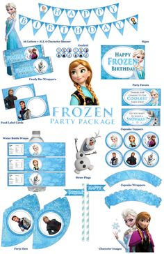 INSTANT DOWNLOAD - Frozen Birthday Party Package - Printable $20.00
