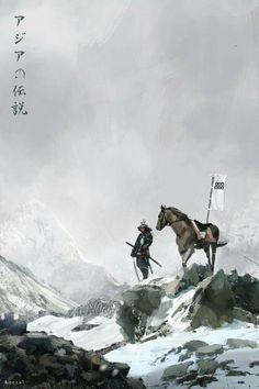 Samurai with his Horse Ronin Samurai, Samurai Warrior, Kendo, Japanese Culture, Japanese Art, Samurai Artwork, Art Chinois, Japanese Warrior, Art Asiatique