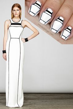 """missladyfinger: """"MANICURE MUSE: Yigal Azrouël Resort Black, white, and everything right. Get the graphic Ladyfingers: here. White Fashion, Love Fashion, Fashion Beauty, Nail Fashion, How To Do Nails, Fun Nails, Nice Nails, Pretty Nails, Phresh Out The Runway"""