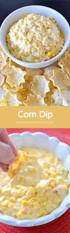 Corn Dip! An addictively good corn dip that you can throw together in 15 minutes.   HomemadeHooplah.com