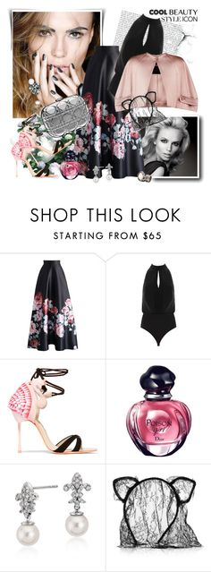 """Natasha Poly"" by danijelapoly ❤ liked on Polyvore featuring Chicwish, Sophia Webster, Christian Dior, Blue Nile and Maison Michel"
