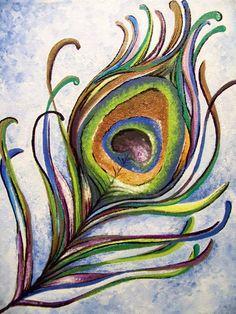 Acrylic on Canvas Peacock Feather Print Peacock Painting, Peacock Art, Fabric Painting, Painting & Drawing, Watercolor Peacock, Peacock Feathers, Feather Art, Bird Art, Art Blog
