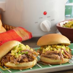 Flavor slow-cooker pulled pork with Caribbean Jerk seasoning for sliders at your next football party. Top with crushed pineapple to get the perfect combination of sweet and spicy!