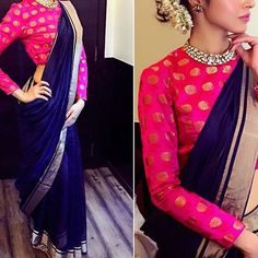 45 Latest Plain saree with Designer Blouse Ideas Kalamkari Blouse Designs, Saree Blouse Designs, Blouse Patterns, Kurta Designs, Indian Dresses, Indian Outfits, Blouse Designs High Neck, Brocade Blouses, Plain Saree