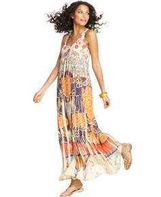 One World Dress, Sleeveless Maxi Printed - Womens Dresses - Macy's