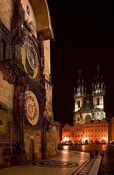 Prague Astronomical Clock Old Time Square