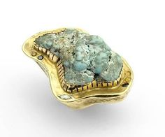 Huge pirate ring, 18k yellow gold, turquoise, and 0.68 ct. t.w. green, yellow, and white natural diamonds from Boaz Kashi