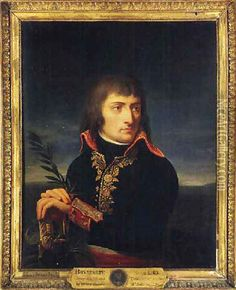 Portrait of Napoleon Bonaparte, his hands resting on the hilt of a sword, before a landscape oil painting reproduction by Andrea, the Elder Appiani