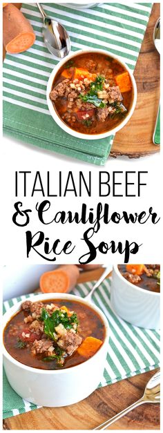 This Italian Beef & Cauliflower Rice Soup is super hearty and filling for any whole 30 paleo or just all around healthy meal! Tons of spices just it great flavor cauliflower rice adds bulk and sweet potatoes & kale are just the perfect finishing touch! Paleo Whole 30, Whole 30 Recipes, Quiches, Sweet Potato Kale, Keto Diet Benefits, Italian Beef, Italian Rice, Keto Diet Breakfast, Starting Keto Diet