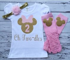 Pink and Gold Oh Twodles Minnie Mouse 2nd Birthday Shirt, Toodles Birthday Shirt, Oh Twodles, Minnie Mouse 2nd Birthday Outfit, Photo Prop by GlitterMeCute on Etsy https://www.etsy.com/ca/listing/467284214/pink-and-gold-oh-twodles-minnie-mouse