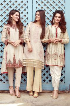 Our much awaited Eid Collection is almost in stores and online. Our shoot features the lovely Aiman Khan, Faiza Ashfaq and Minal Khan. Umair Bin Nasir has done a great job at showing the true brilliance of this Collection of Edenrobre. Pakistani Casual Wear, Pakistani Party Wear, Pakistani Couture, Pakistani Dress Design, Pakistani Outfits, Indian Outfits, Indian Couture, Simple Dresses, Beautiful Dresses