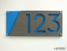 Modern House Numbers, Concrete with Blue Acrylic - Contemporary Home Address -Sign Plaque - Door Number