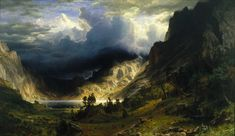 Albert Bierstadt, A Storm in the Rocky Mountains, Mt. Rosalie (1866), oil on canvas, 210.8 x 361.3 cm, Brooklyn Museum, New York, NY. Wikimedia Commons.