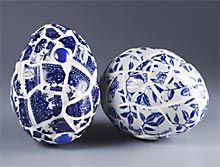 Blue Willow china pieces on styrofoam eggs.  By Kathleen George @ Syrofoam Brand Foam