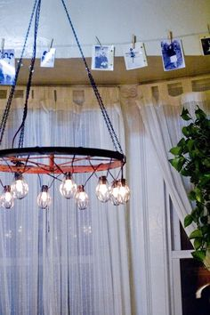 Make any room in the house shine with this DIY bicycle wheel chandelier. Not into the light bulbs? Wrap the rim in twinkle lights for a sparkly look.