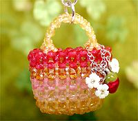 Beaded Strawberry basket purse PATTERN 3D mini Parts Club