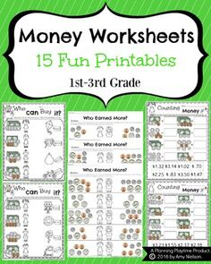 Money Worksheets Counting money is an early, critical math skill for kids. This fun set of 15 Money Worksheets is great practice and includes coins and bills. There are 3 different types of worksheets in this set. Money Worksheets, First Grade Worksheets, First Grade Math, Worksheets For Kids, Second Grade, Halloween Worksheets, Teaching Money, Teaching Math, Maths